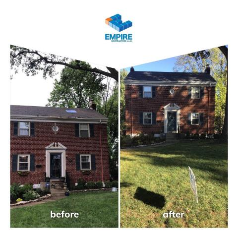 Cincinnati, OH - New GAF  Roof. This old roof was replaced after a tree hit the home. We had to work with the insurance carrier to get a cracked rafter replaced as well.