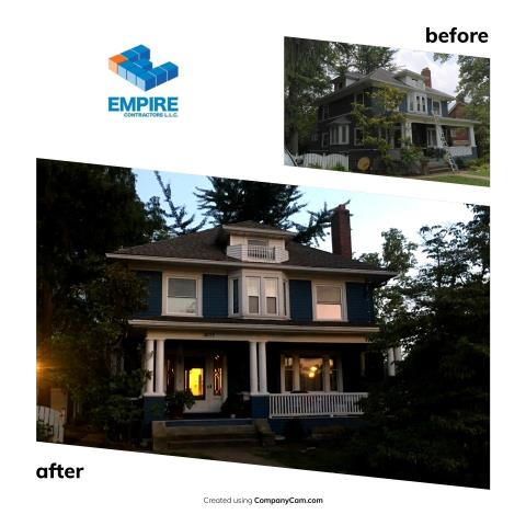Cincinnati, OH - Another install from Empire Contractors LLC. This is a beautiful house and a great color change. GAF Cedar Falls was the color of choice.