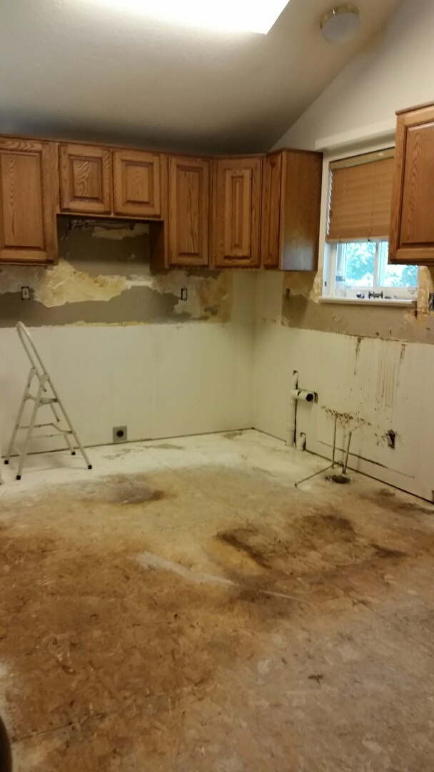 Removed countertops   and lower kitchen cabinets and flooring.  Due to a waterline leaking from Refrigerator
