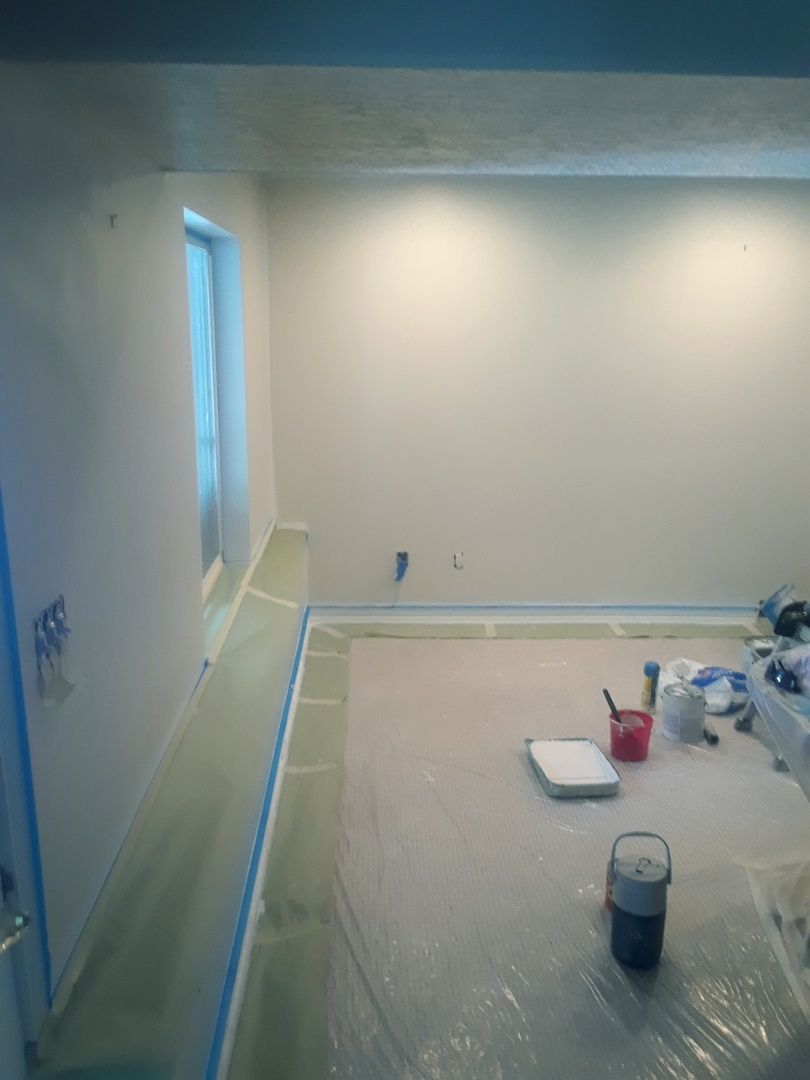 Painted the wood in spa room, and rolled base coat over the primer.