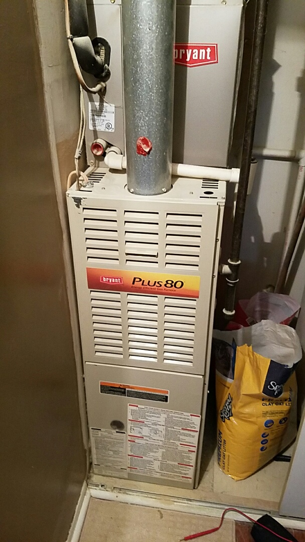 Brookhaven, PA - No heat in Brookhaven on a Bryant gas heater. Furnace had a defective hot surface ignitor. Replaced with new igniter.