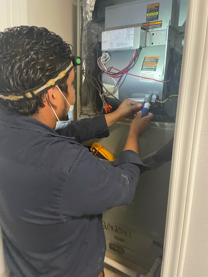 New Braunfels, TX - Working on a Trane Air Handler in the Stone Gate neighborhood. Indoor unit was making loud noise during start up. Checked all electrical wiring and motor. Evaluated system and gave options for repair.