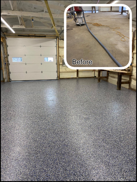 Rockford, IL - The garage looks great, thanks to Xtreme Clean & Coatings!! The crew did a wonderful job making this worn, pitted surface look brand new!  I Highly recommend this company to anyone looking to revamp their concrete floors.