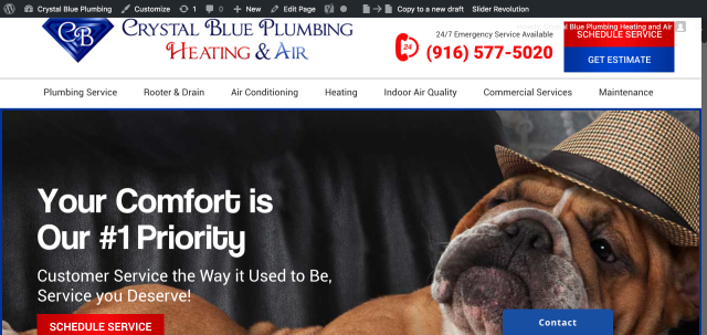 Loomis, CA - Provided Digital Marketing Wordpress Training for Crystal Blue Plumbing owner Tim Sjobeck, in Loomis, CA. A fantastic Plumbing and HVAC professional that understands the importance of a strong Google Digital Footprint for future marketing success.
