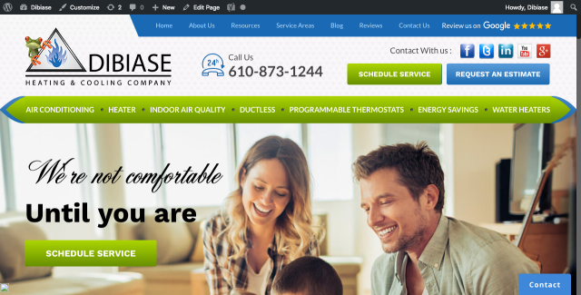 Downingtown, PA - Wordpress and CRM training on a new website that just went live with DiBiase Heating & Cooling Company in Downingtown, PA.