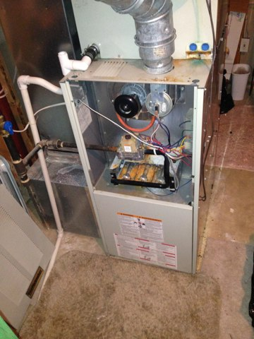 Lorton, VA - Service call, no heat basement system gas furnace, after some troubleshooting shows igniter was very dirty, cleaned for the repair.