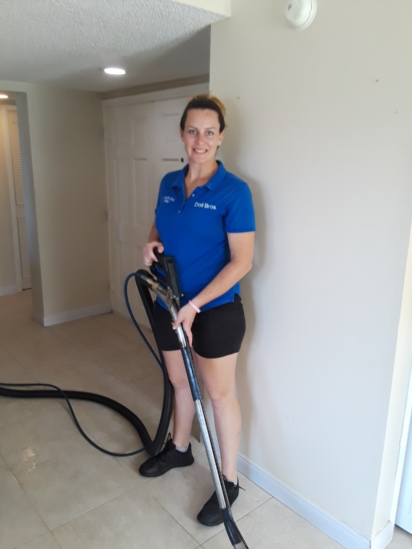 Indian Rocks Beach, FL - Tile and Grout floor Cleaning at this condo on the intercoastal, Cleaning beautifully.