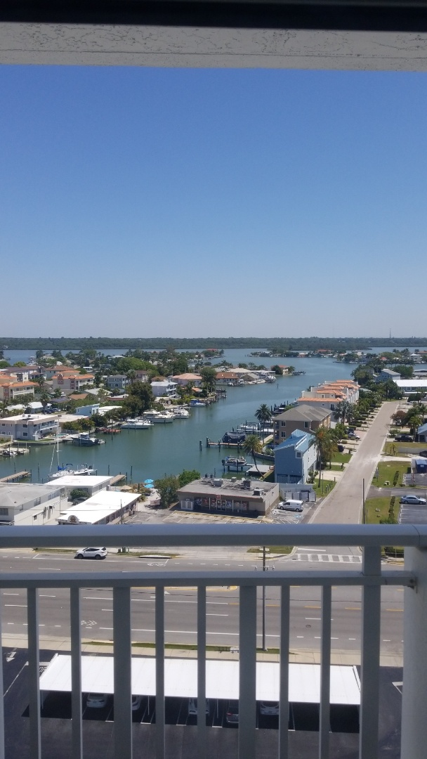 Redington Shores, FL - A beautiful view from this customers 12th floor condominium on Indian Shores Beach  We are Cleaning Carpet in the whole unit.
