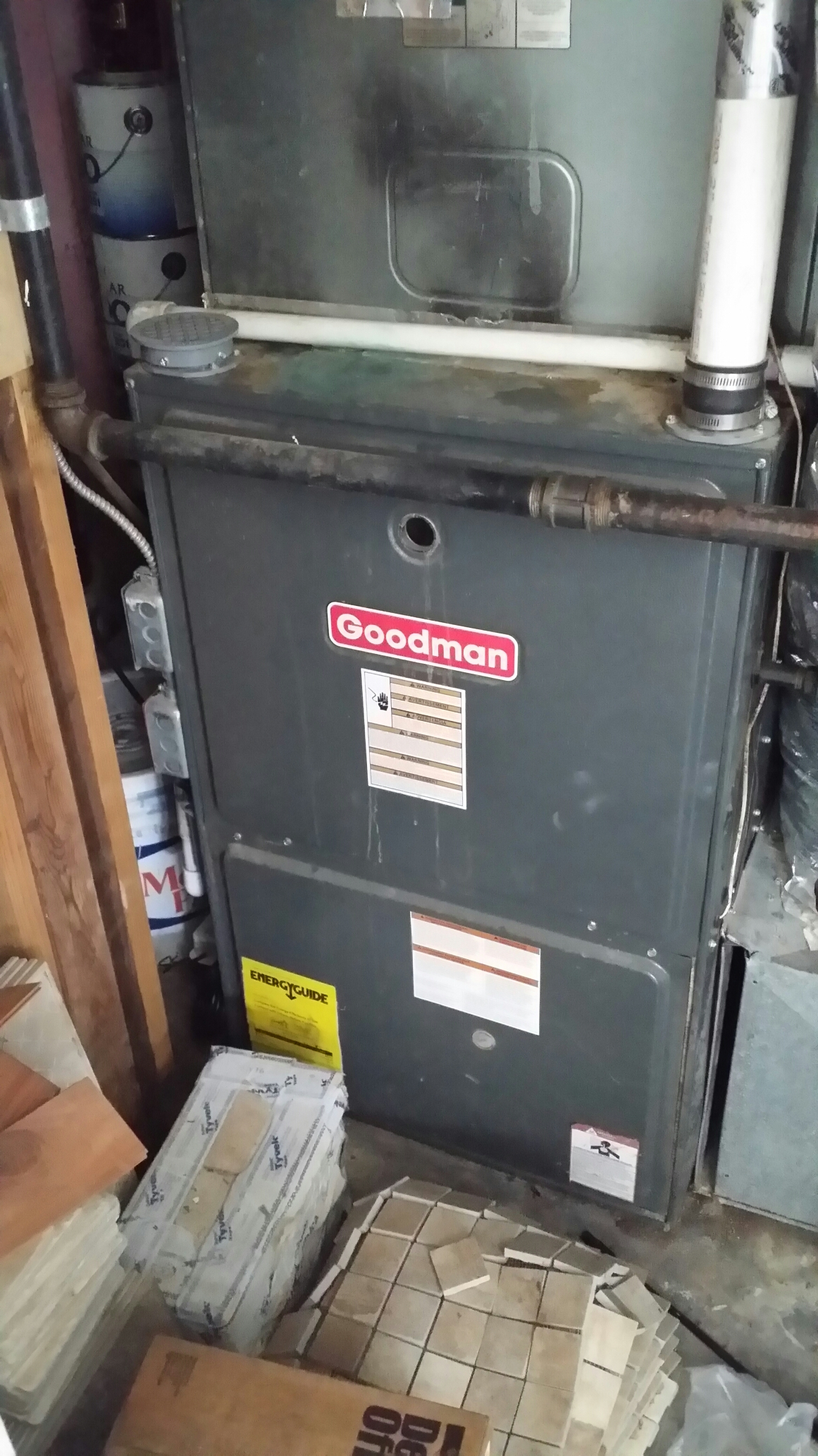 Manasquan, NJ - Heater service call. No heat from a Goodman 90% gas furnace. Low battiers on Honeywell thermostat in Manasquan NJ
