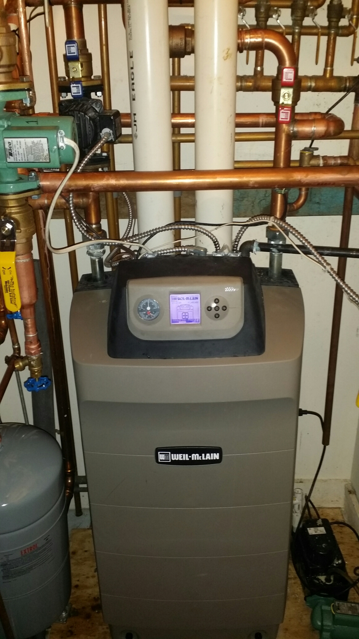 Toms River, NJ - Repair Weil Mclain Ultra 155 gas modulating boiler with baseboard heat and indirect hot water storage tank.
