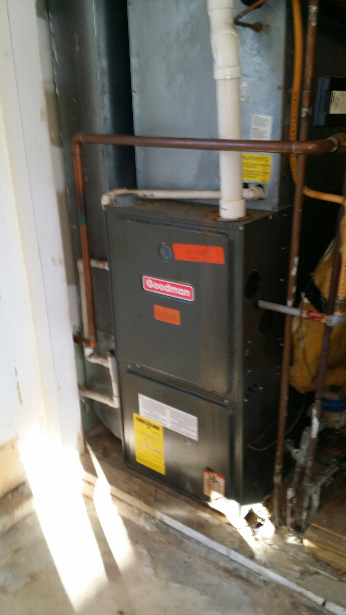 Repair call Goodman high efficiency gas furnace not working. Fault with exhaust removal system