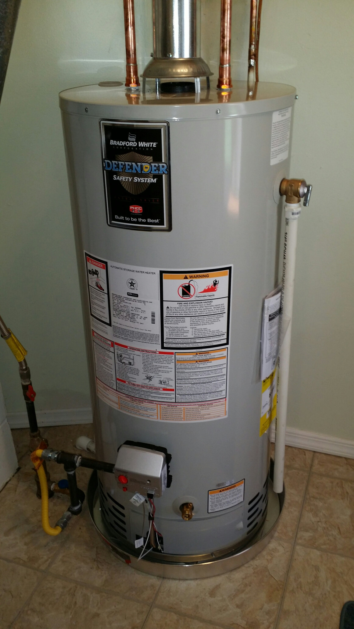 Brick, NJ - Replace gas water heater with new Bradford White gas water heater