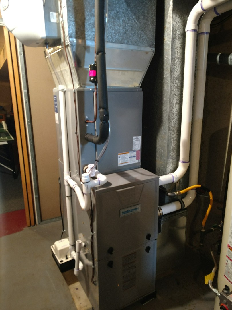 Install new comfortmaker 96% gas furnace and comfortmaker 16 see 3 ton air conditioner. Install aprilaire 400 humidifier