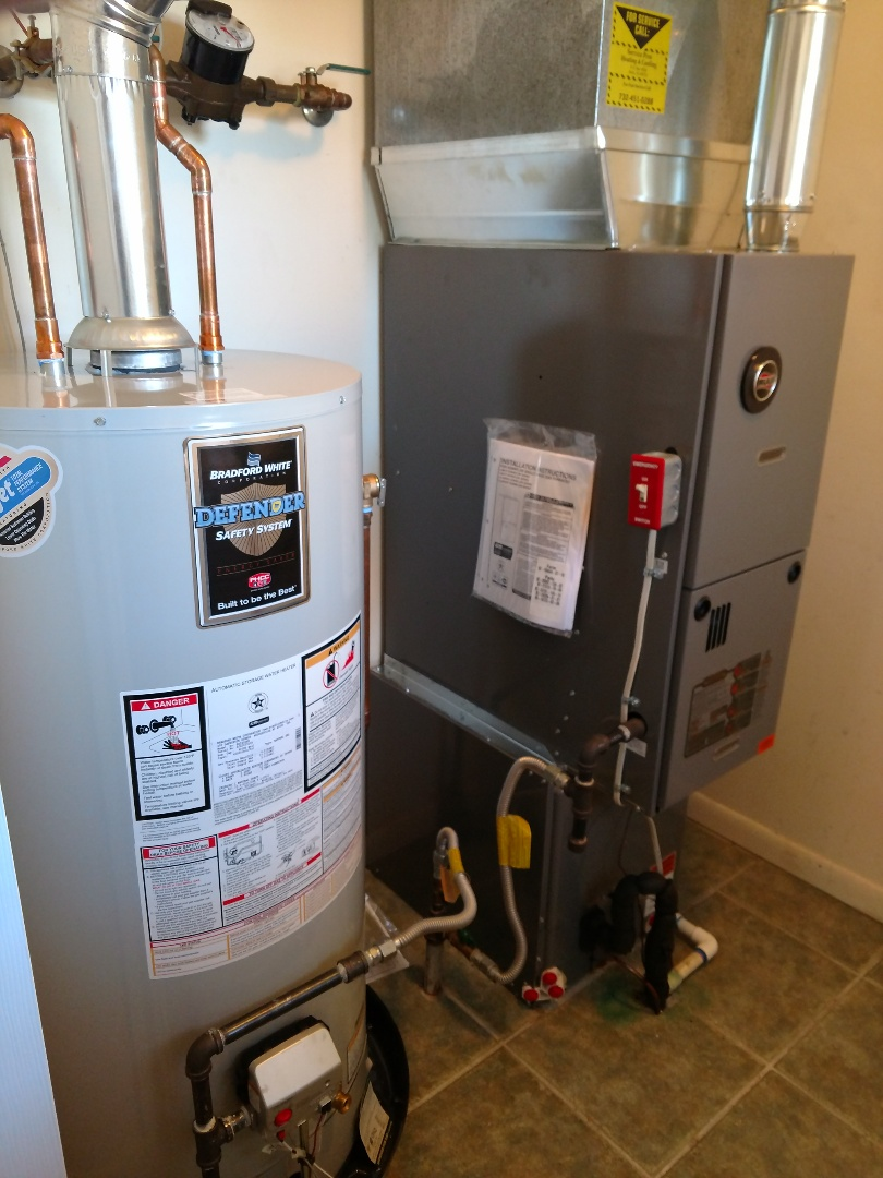 Install new ruud central heating system 80% gas furnace. Install ruud central air conditioning unit ra13. Bradford white 40 gallon gas water heater.