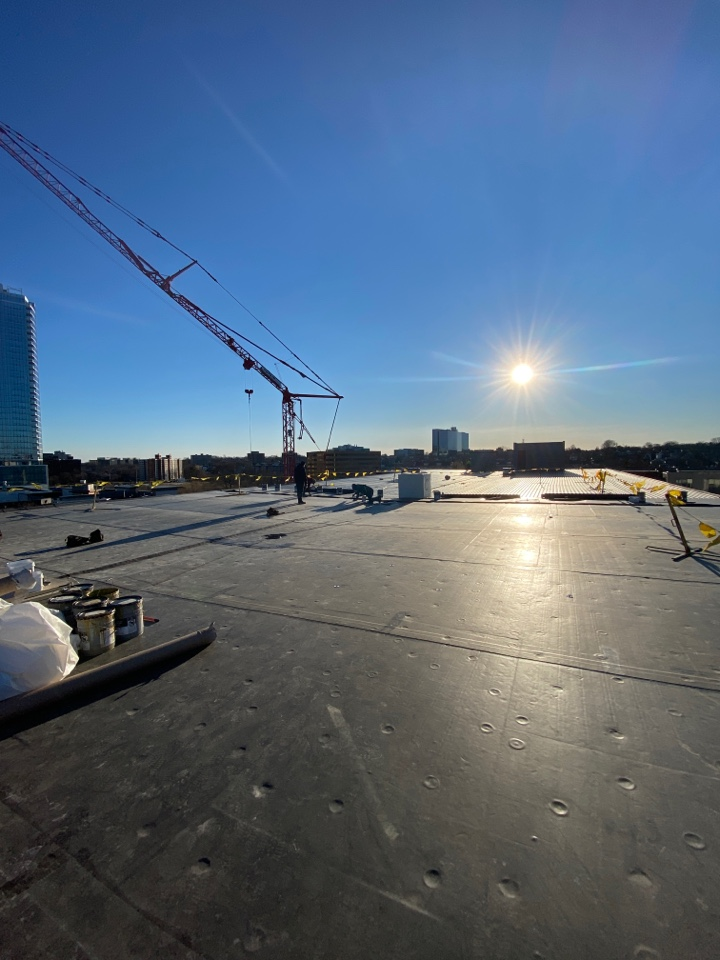 Stamford, CT - Finishing out the day putting on the last of the seam tape on before the weekend.