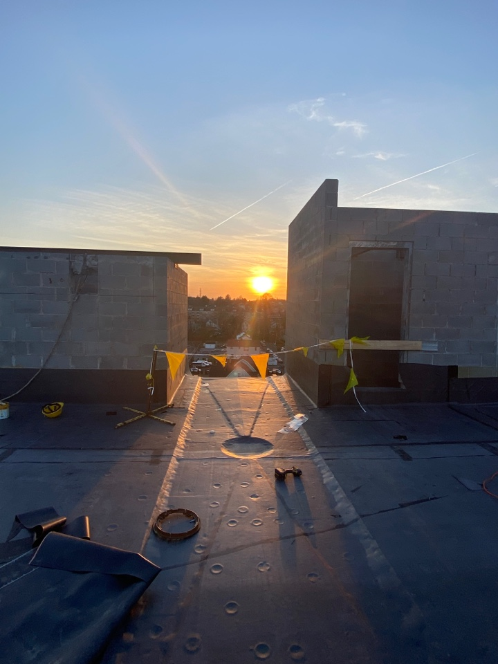 Stamford, CT - Finishing up for the day on the 090 EPDM roof!