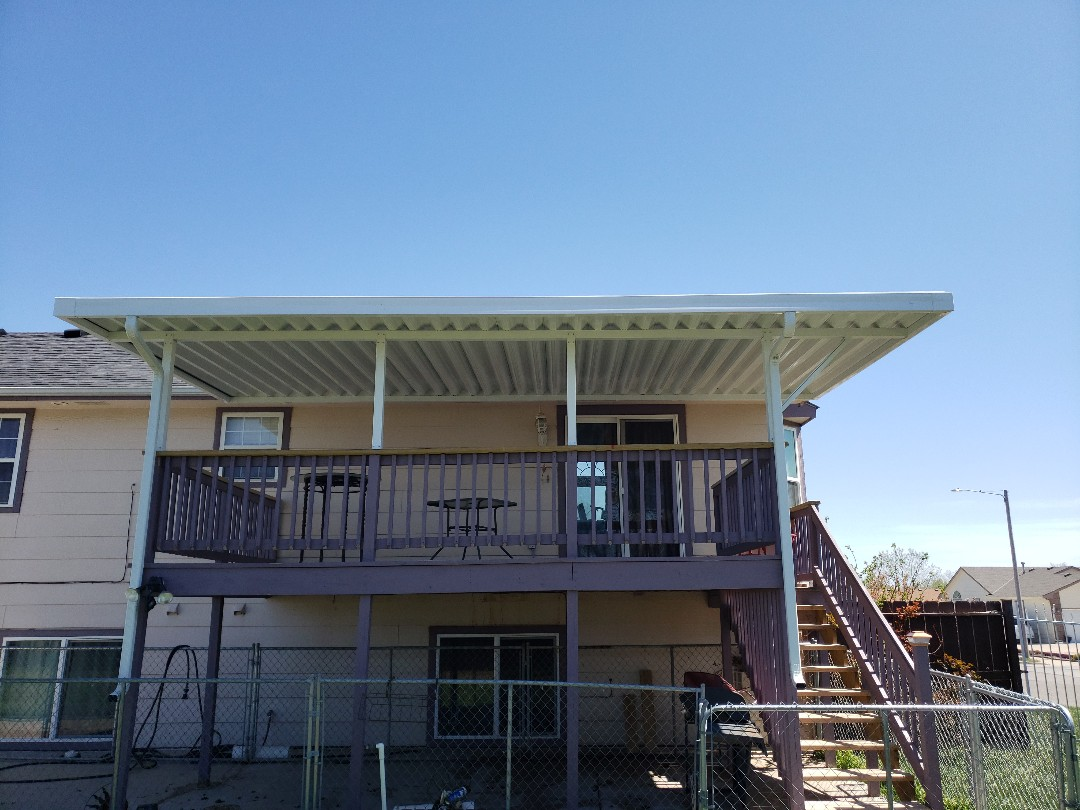 Wichita, KS - Completed new deck patio cover for customer this spring to keep summer heat off of deck.