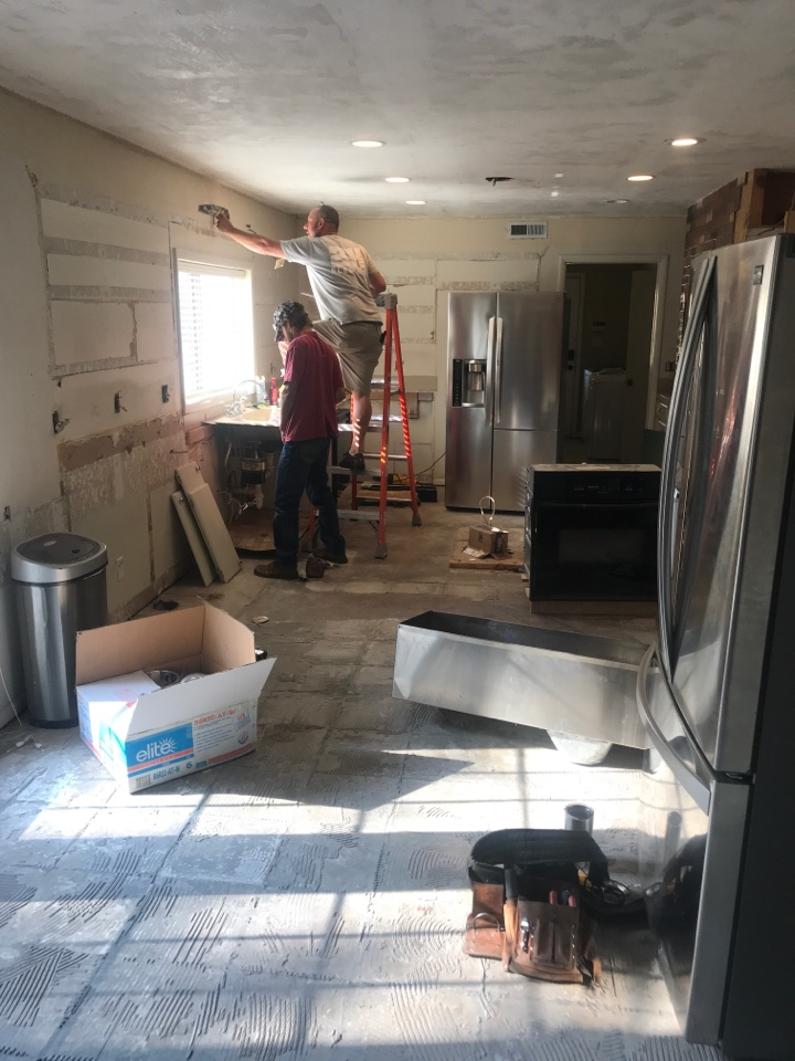 Claremore, OK - Kitchen remodel in process.  Electrical work for new custom cabinets, flooring, and quartz tops.