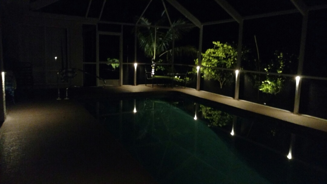 North Port, FL - Installed low voltage LED pool cage lights/landscape lights