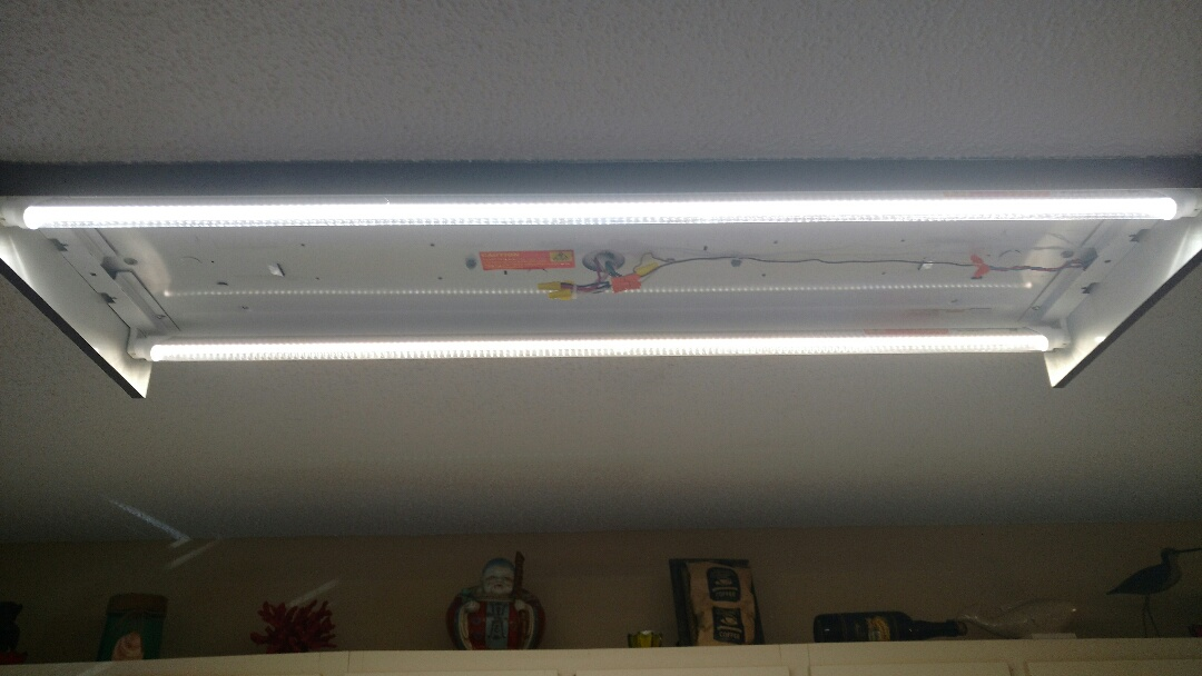Bradenton, FL - Retrofitted a old T-12 4 lamp fixture with 2 led lamps. The light is brighter and more energy sufficient than the 4 lamp set up.