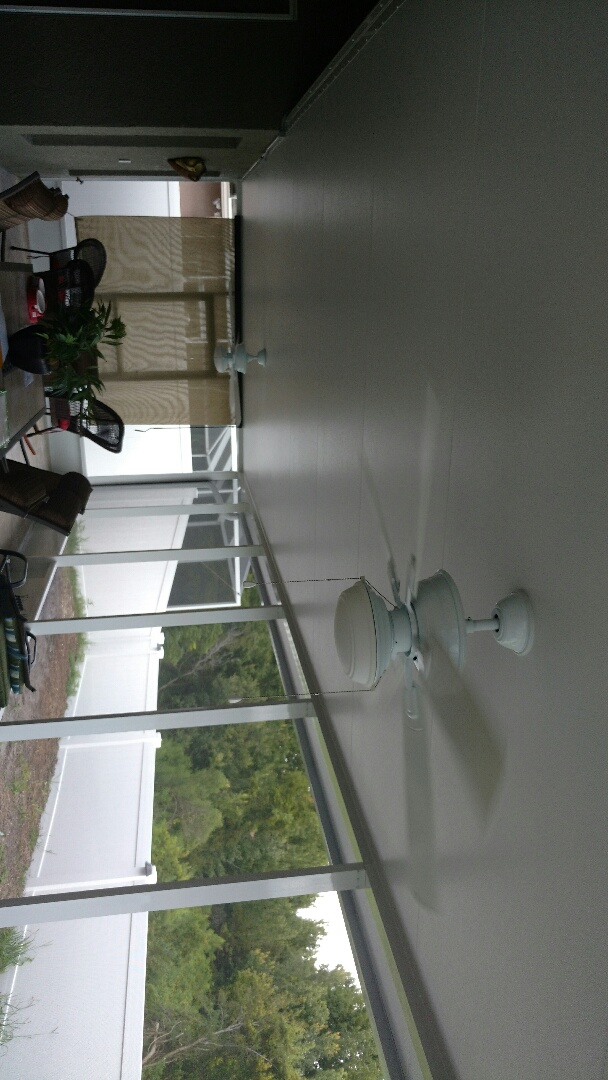Installing fans and wiring on lanai