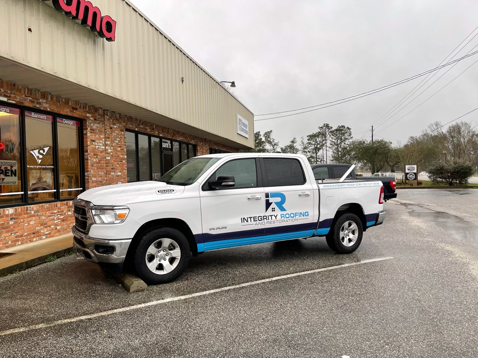 Foley, AL - Thank you Signarama Baldwin, AL for the new graphics on one of our fleet vehicles! Baldwin and Mobile counties contact Integrity for all of your Roofing and Restoration needs!