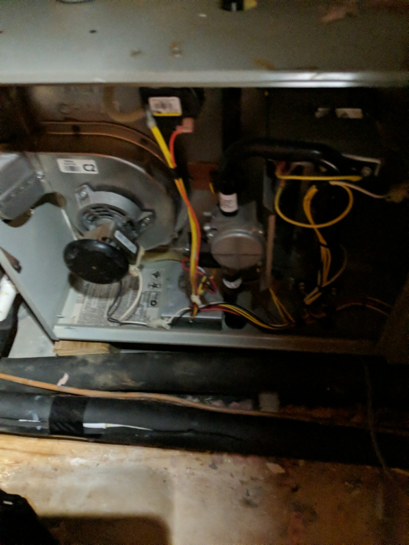 Working on a heating maintenance