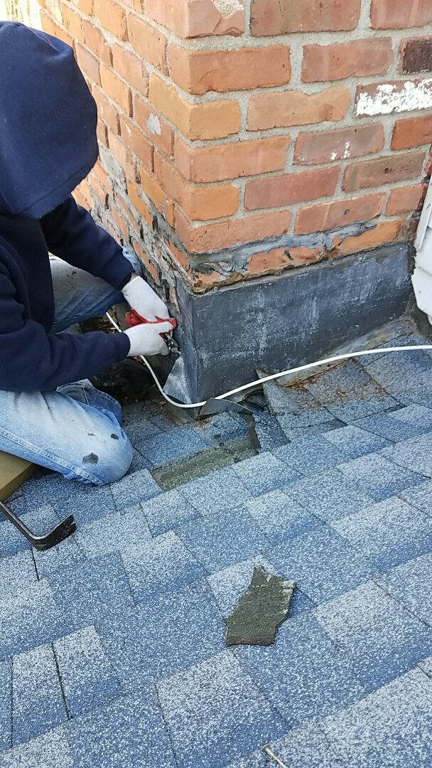 Middlebury, CT - Repairing chimney flashing to residential customer in Middlebury.