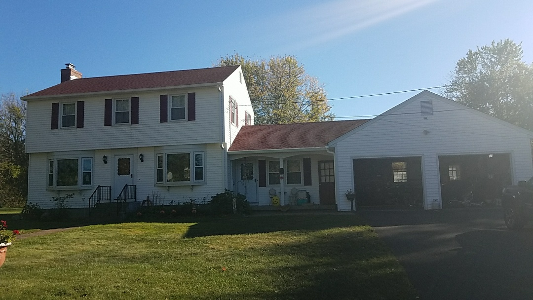 Watertown, CT - Patriot red GAF roof with new gutters and downspouts