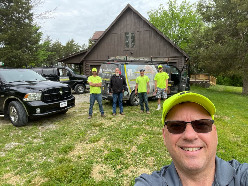Stanford, KY - Jacobs Ladder's A Team is on it! Log log cabin restoration, just proof we can do just about everything. Build 2 Large decks, stain the whole house new roof, interior remodel the whole 9 yards.  Here in the beautiful hills of Stanford Kentucky Kentucky!