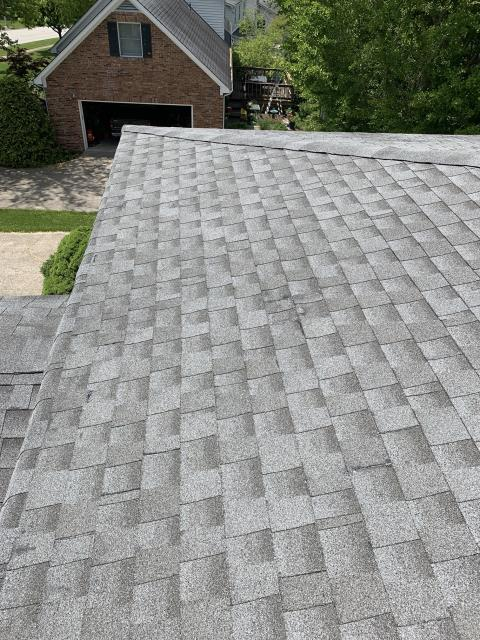 Roof repair, fixing a client's leak. Using some shingles, matched up, and silicone