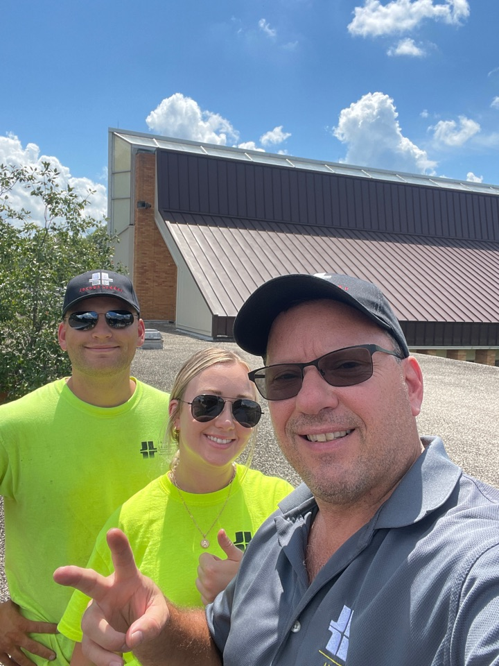 Lexington, KY - Roof inspection on a church facility in Lexington Kentucky, looking like it's going to be a re-roof on this bad boy. Do you need commercial flat roof work done in central Kentucky give us a call. Jacobs ladder roofing and restoration.