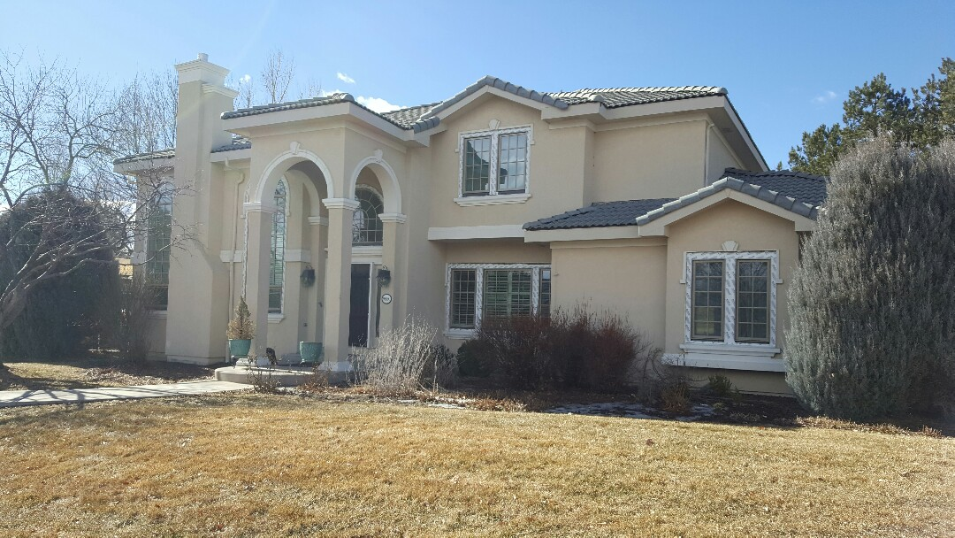 Greenwood Village, CO - Replacing hail damaged gutters with all new aluminum custom gutters on this beautiful home in Greenwood Village!