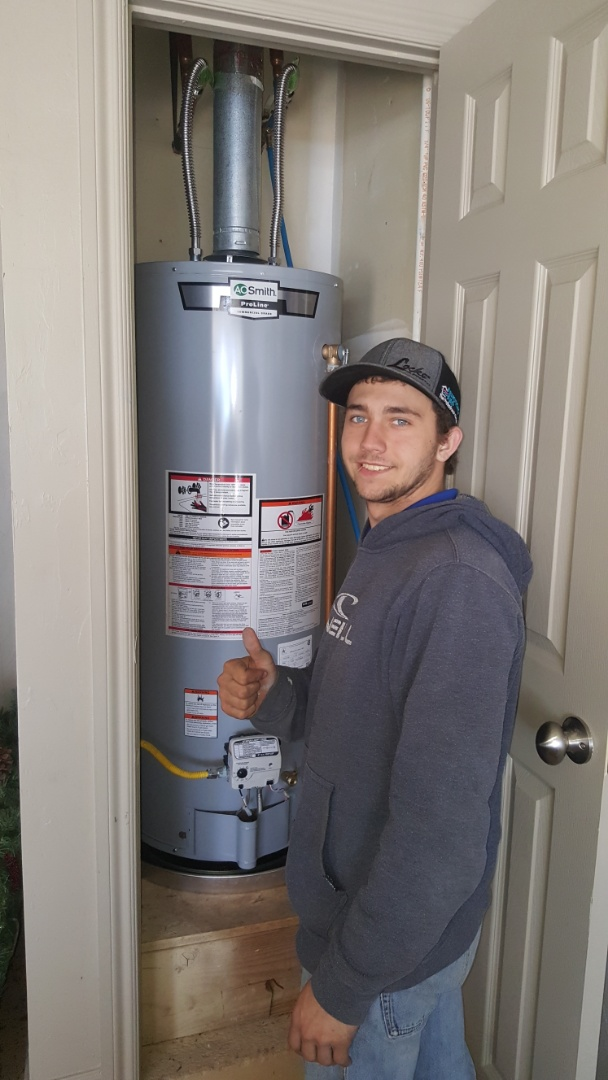 Installed new 50 gallon gas water heater for residential client in local home near lake arcadia hot water tank was leaking water into drain pan continuously plunbing hot water heating system is now working excellent