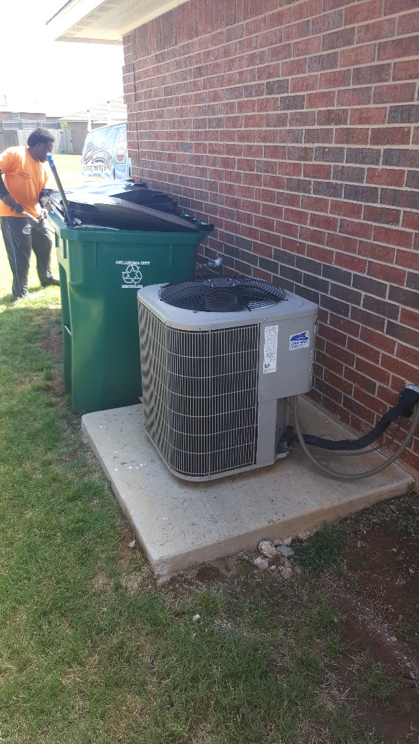 Oklahoma City, OK - Installing and replacing new run capacitor 45 5 microfarad with new Titan HD run capacitor for compressor and outdoor condenser fan motor checking refrigerant to make sure that levels of freon are perfect everything is running well upon departure