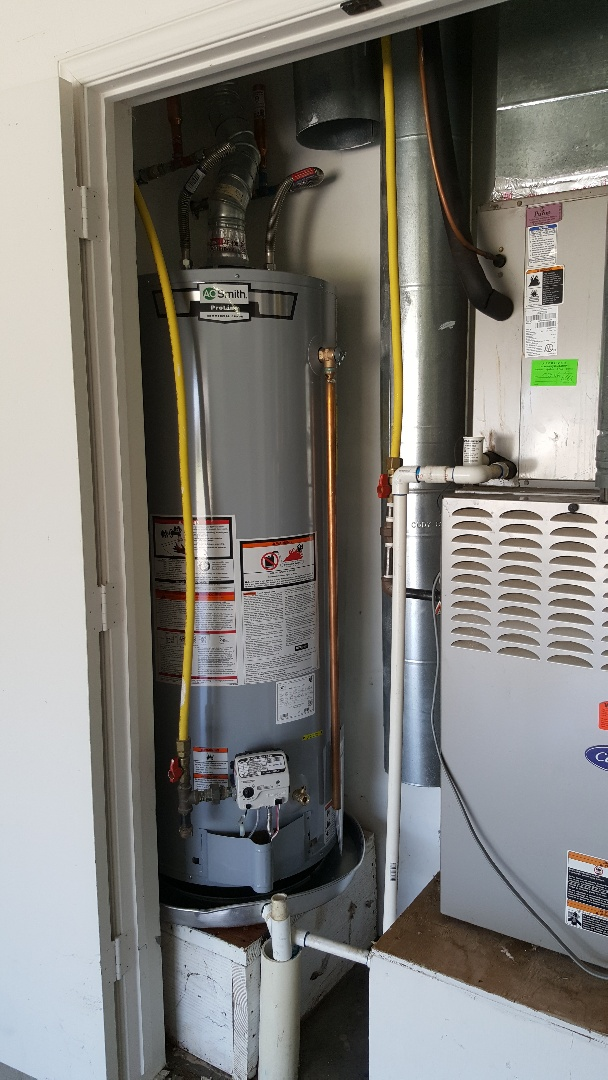 Yukon, OK -  Installing new A.o. Smith 50 gallon gas water heater in stone ridge farms neighborhood