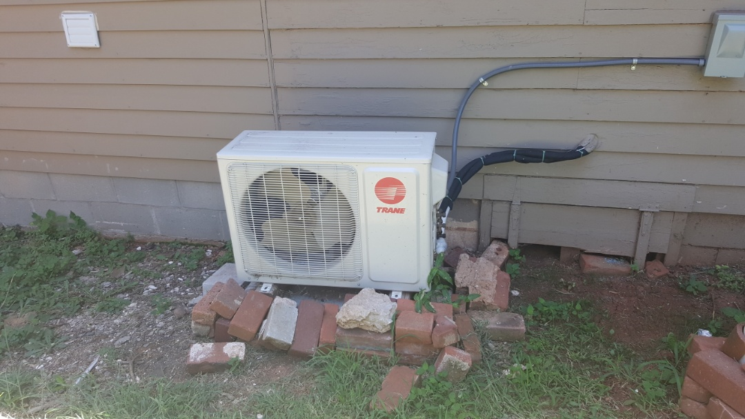Oklahoma City, OK - Trane ductless mini split a.c. heat pump not cooling home not blowing cold air near paseo district Low on Freon refrigerant puron r410a dirty air filter restricted condenser coil dirty restricted also