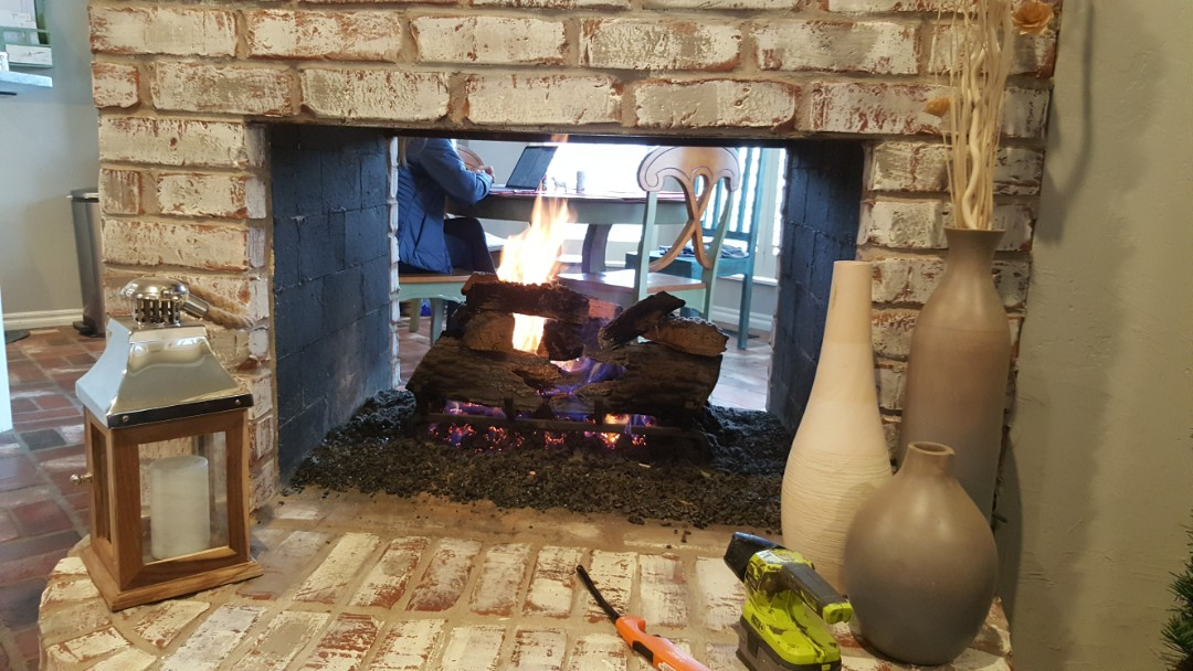 Guthrie, OK - Gas fireplace repair service on Majestic gas fireplace near I-35 and Seward Road finding that pilot was not lighting due to air being in the pilot tube was able to turn propane LP gas tank on and got pilot and gas fireplace insert able to light no Faults found in fireplace