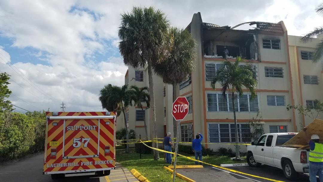 Lauderhill, FL - Fire damage cleanup in Lauderhill, FL. Cypress Tree Condo Association.