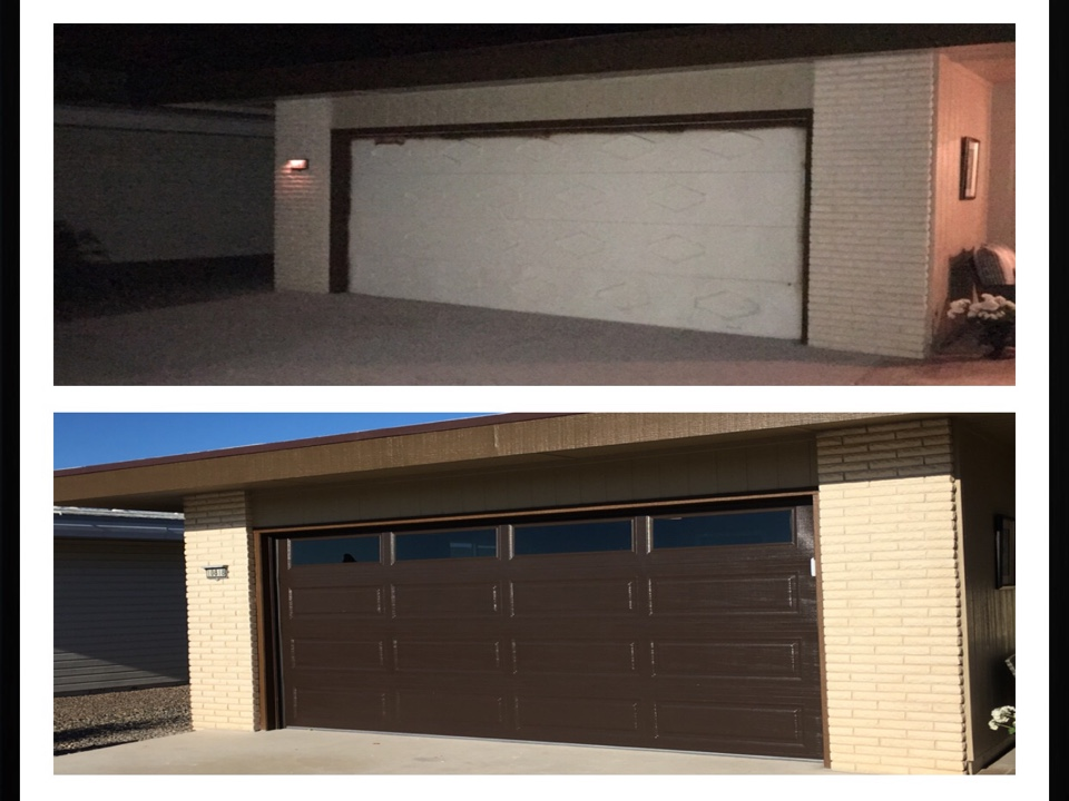 Sun City, AZ - Customer remodeled home completely. Called us to install a Custom Brown Long Panel Door with plain windows. We removed old wooden door and installed this new door. House looks awesome.