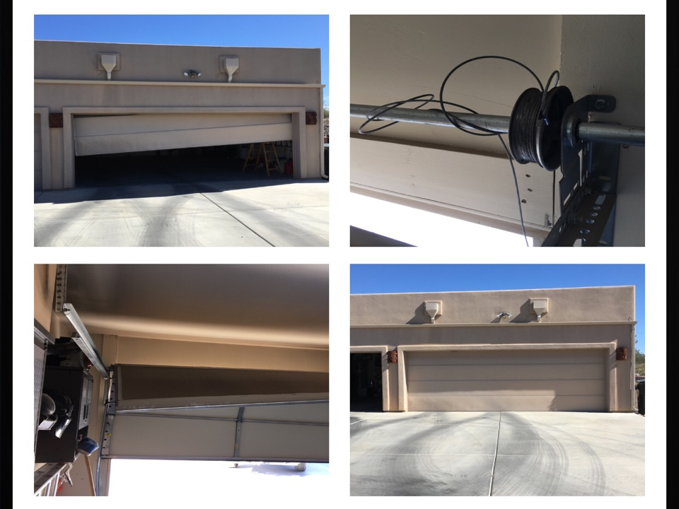 Wickenburg, AZ - Customer's door was off track. Put door back on track,left track was all bent up,added tension to springs. Aso replaced chain gear on Liftmaster opener. Added tension on small door amd Tuned & Lubed both doors.