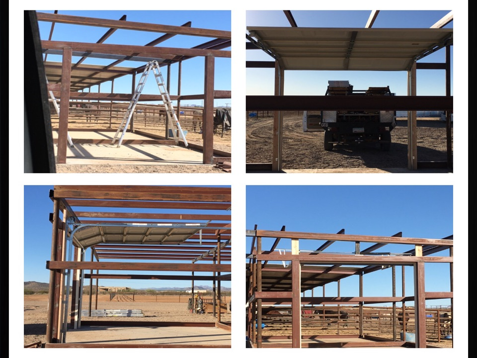 Wickenburg, AZ - Did full Buck out on steel building for door. Installed 8x8 24 Gau Short Almond door. Small little shop is for their saddles & Roping equipment.