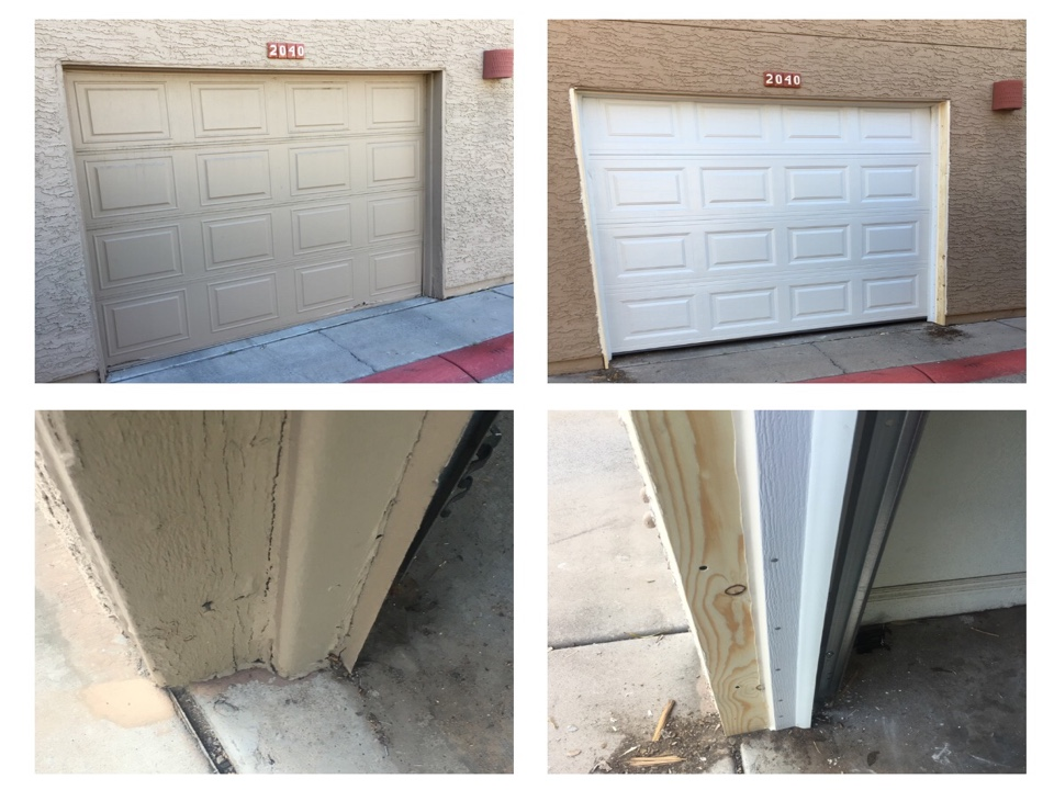 Tempe, AZ - Removed old door including frame around opening. It had water damage. Installed new wood around the opening,new trim,new door and reset opener to new door.