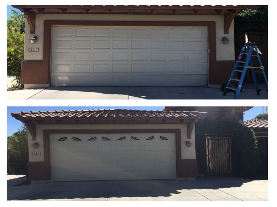 Chandler, AZ - Old door had way too much damage, so we removed it and replaced it with a new door with Windows