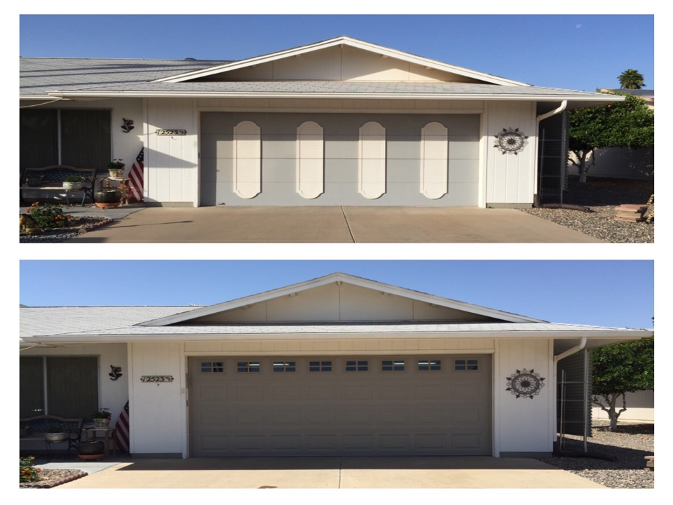 Sun City West, AZ - We removed their old wood door and opener, and installed a insulated UTD door and Liftmaster opener.