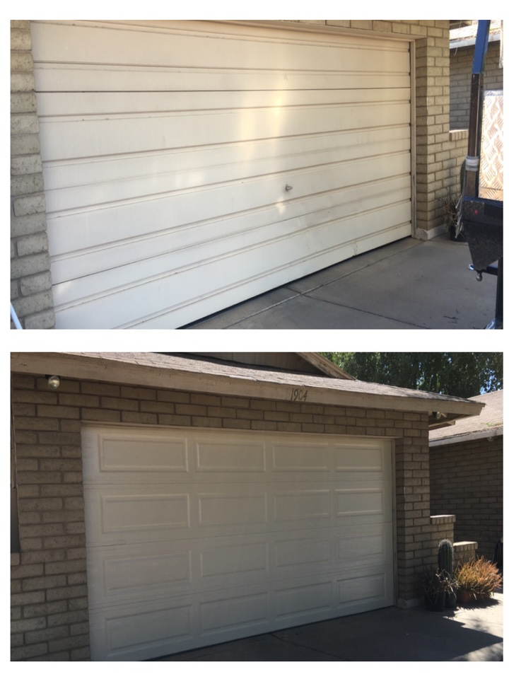 Chandler, AZ - Removed and Replaced old door. It was cracked in multiple places. Replaced with a Long Panel Almond by UDT..Reconnected opener we replaced close to a month ago.