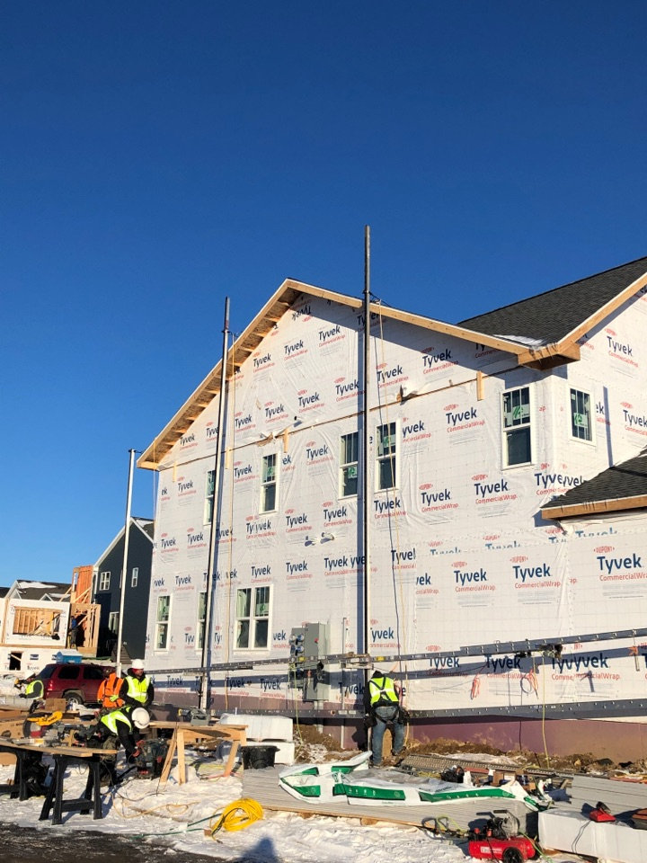 Fitchburg, WI - Beautiful day to start install of James Hardie-Pearl Gray siding!