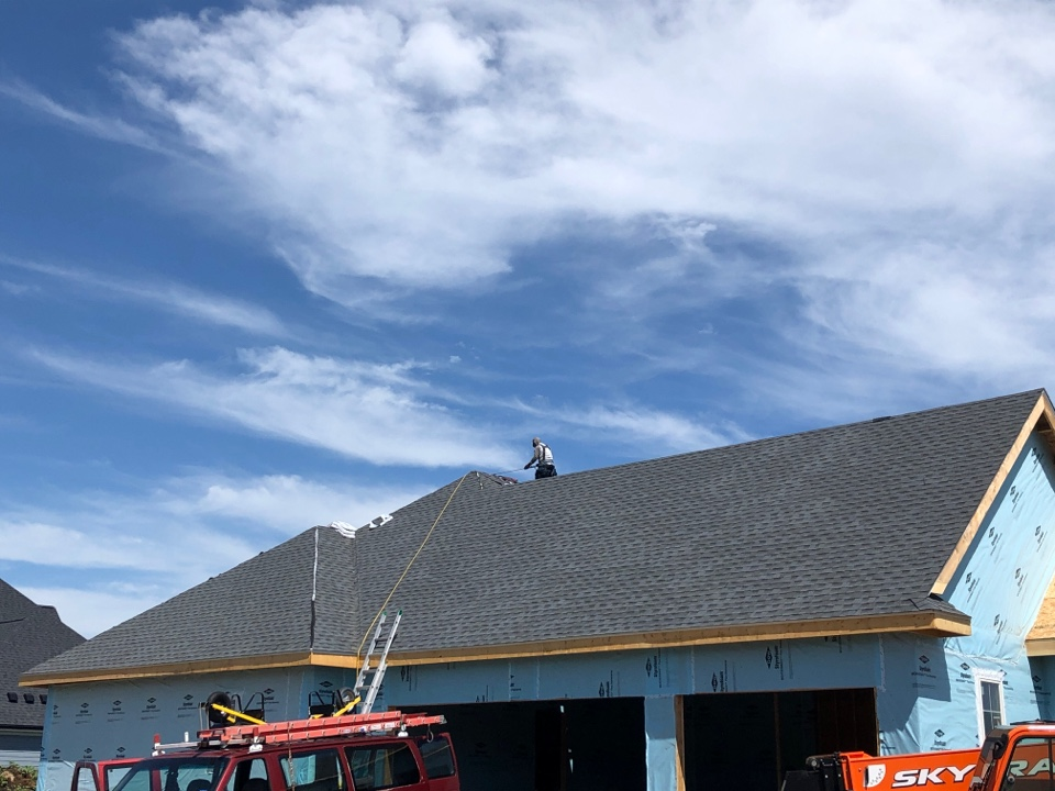 Waunakee, WI - Almost done with this new construction roof with GAF Timberline HDZ Pewter Gray.