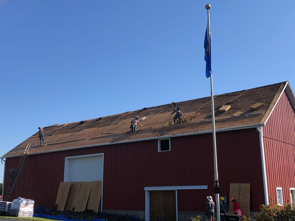 DeForest, WI - Barn reroof started! GAF Timberline HDZ Weatherwood shingles will be going back on after resheeting the entire roof.
