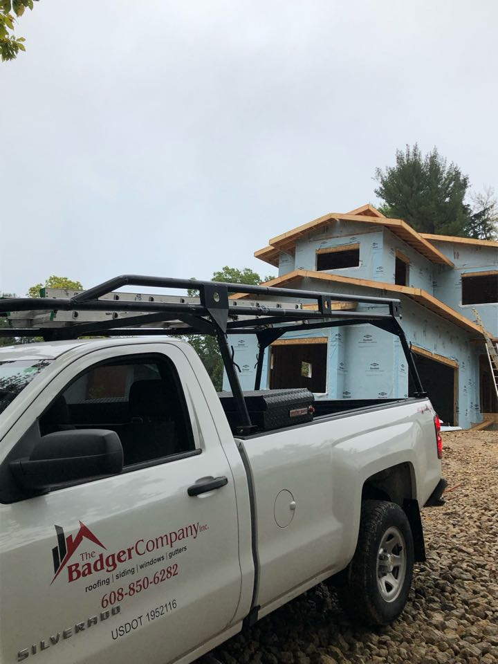 Madison, WI - Setting up for new construction roof today. GAF Golden Pledge Warranty